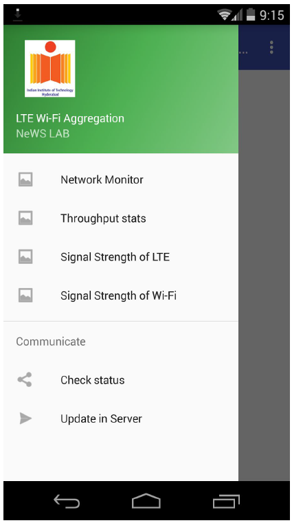 Figure 5: Android App for measuring network performance